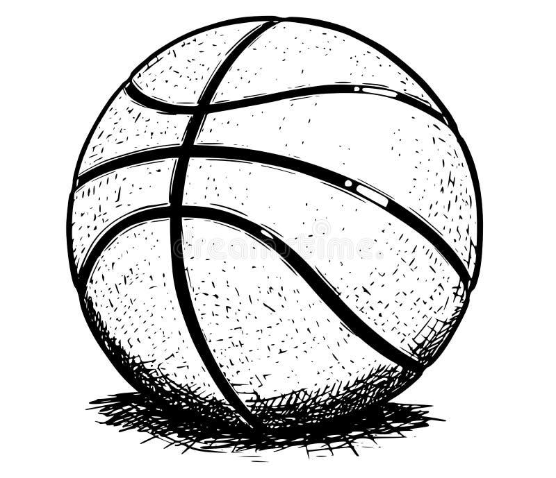 Illustrazione del disegno della mano di vettore della palla di pallacanestro illustrazione di stock