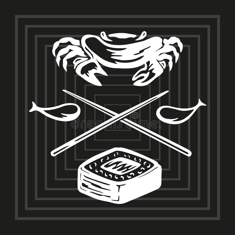 Illustrazione del disegno di profilo in bianco e nero con l'alimento del riso e del pesce con gli elementi dei bastoni, del pesce royalty illustrazione gratis