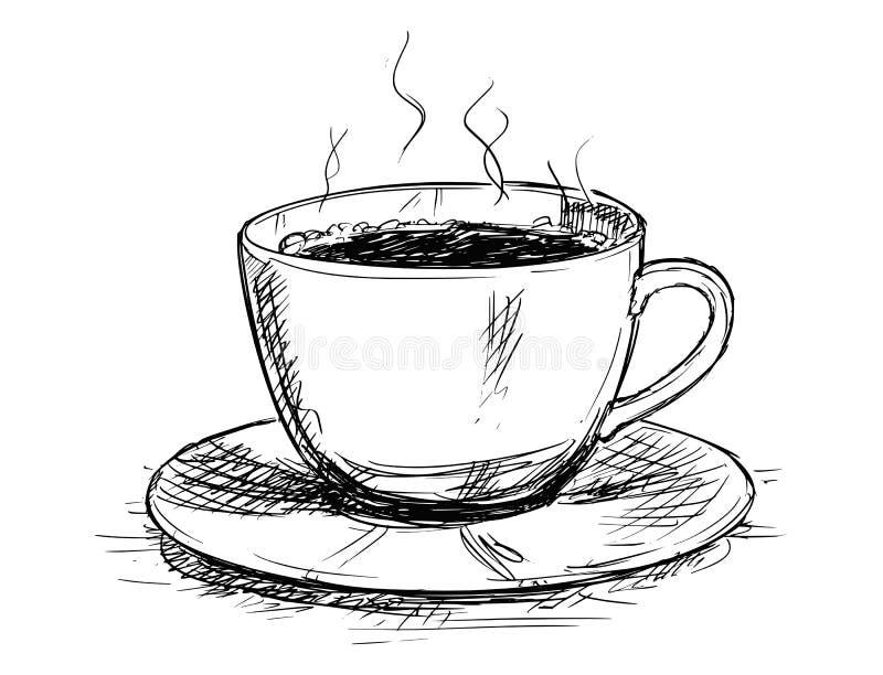 Illustrazione del disegno di schizzo di vettore della tazza di caffè illustrazione vettoriale