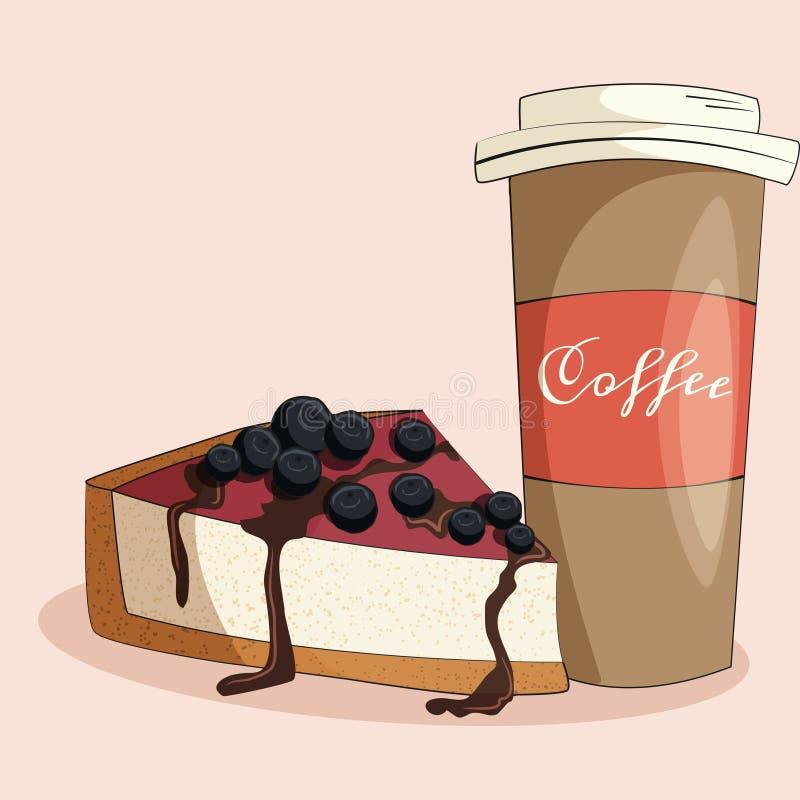 Illustrazione del dolce e del caffè immagine stock