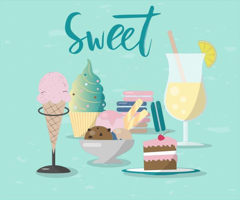 Illustrazione del dolce e della limonata con la mano che segna dolce con lettere illustrazione vettoriale