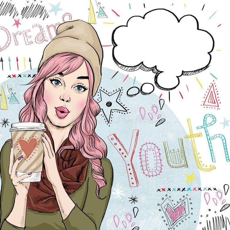 Illustrazione del figurino della ragazza con la tazza di caffè nella mano con il fumetto illustrazione vettoriale