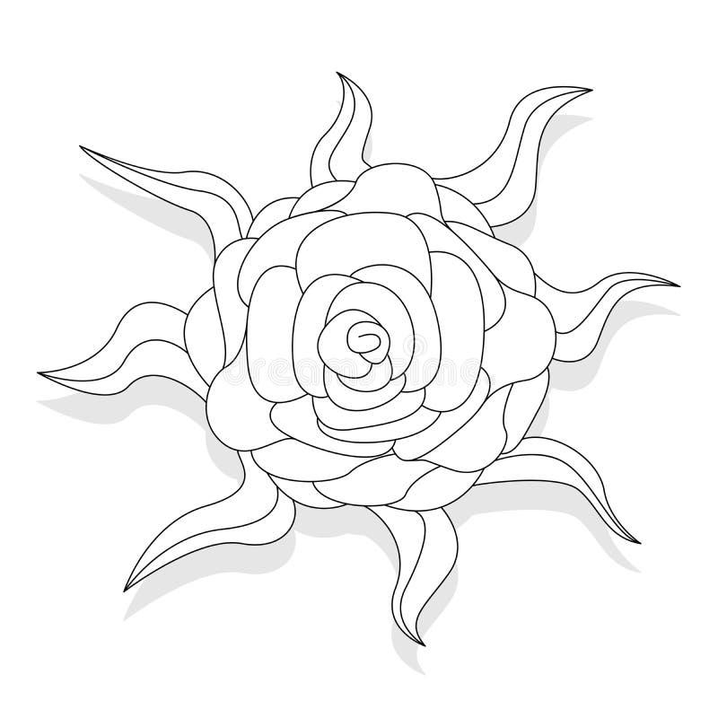 Illustrazione del fiore di fantasia messa su bianco royalty illustrazione gratis