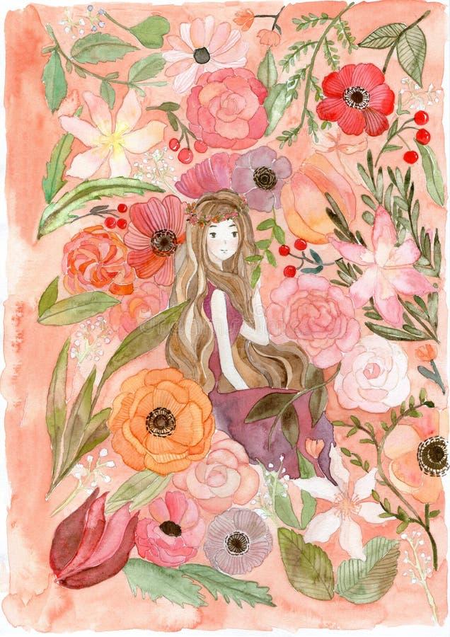 Illustrazione del fiore e della ragazza illustrazione di stock