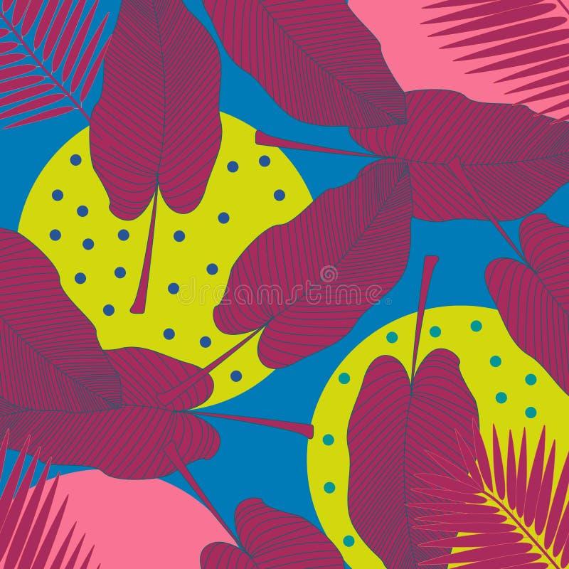 Illustrazione del fogliame della giungla Stampa tropicale variopinta Reticolo senza giunte dell'annata floreale Illustrazione tro immagini stock