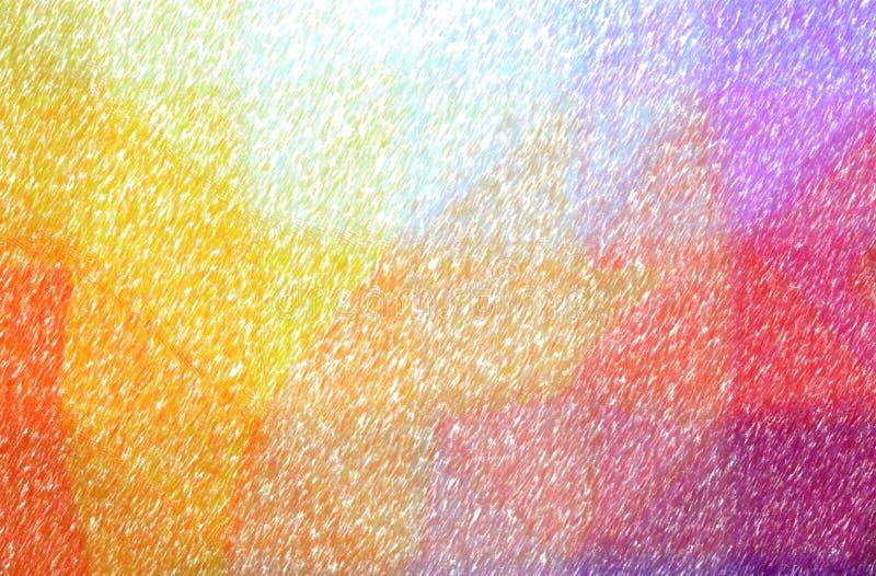 Illustrazione del fondo basso arancio e porpora della pittura della matita di colore di copertura, digitalmente generata illustrazione vettoriale