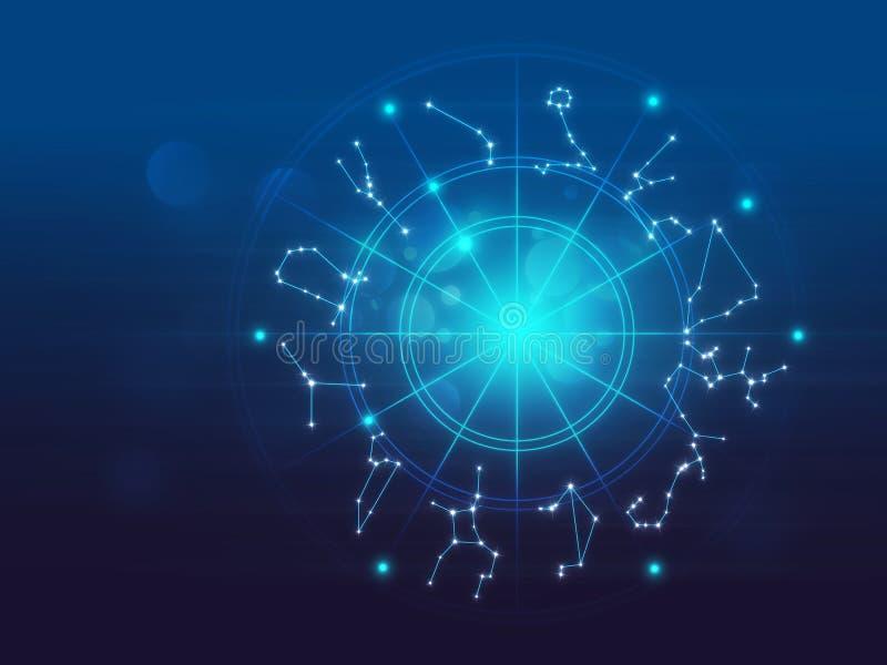 Illustrazione del fondo del segno di alchemia e di astrologia illustrazione vettoriale