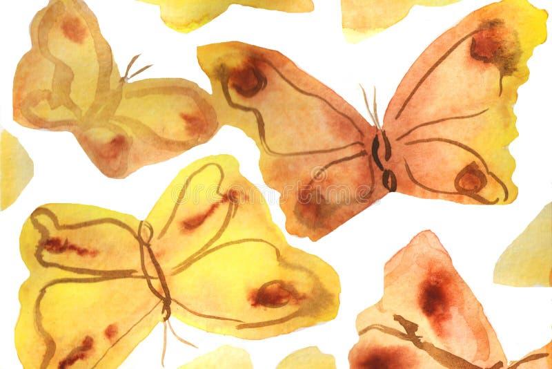 illustrazione del fondo dell'acquerello Farfalle dell'acquerello su un fondo bianco illustrazione vettoriale