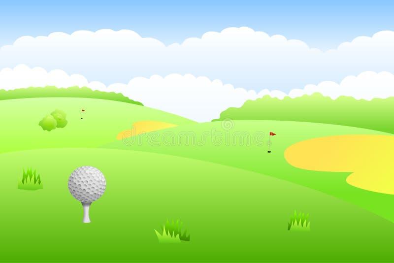 Illustrazione del fondo dell'erba verde del campo da golf del paesaggio illustrazione di stock