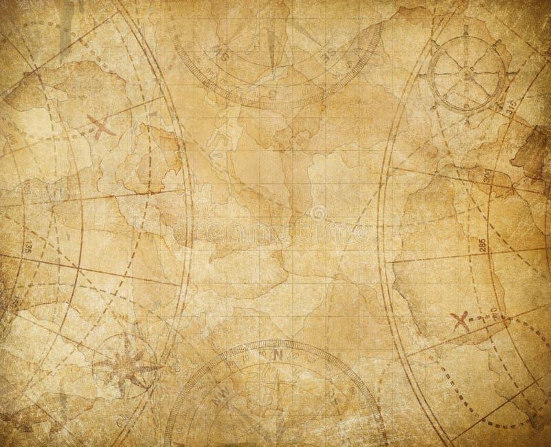 Illustrazione del fondo della mappa del tesoro dei pirati illustrazione di stock