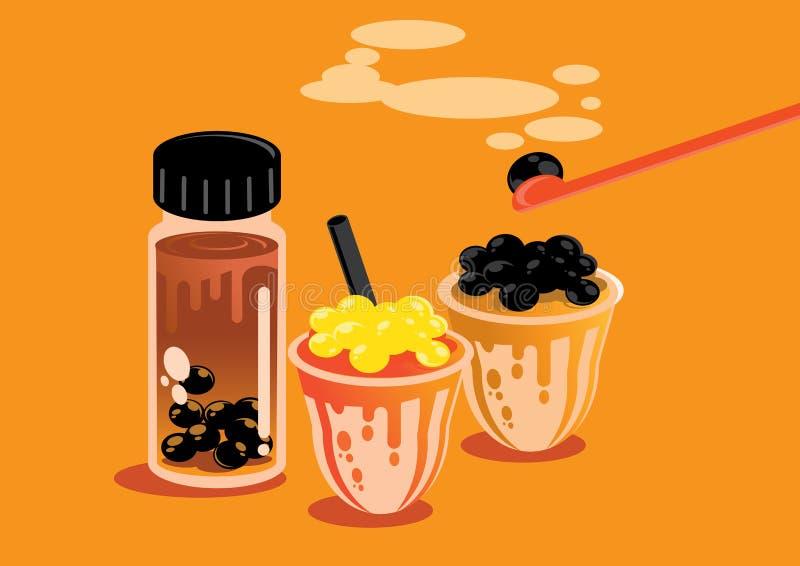 Illustrazione del fondo della perla del tè del latte di stile di Taiwan royalty illustrazione gratis