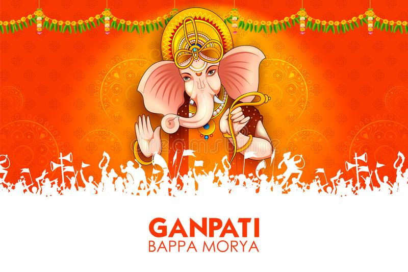 Illustrazione del fondo di Lord Ganpati per il festival di Ganesh Chaturthi dell'India illustrazione di stock