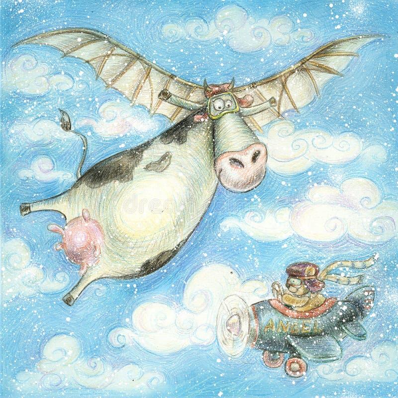 Illustrazione del fumetto con la mucca e l'orso Scheda di festa Illustrazione dei bambini royalty illustrazione gratis