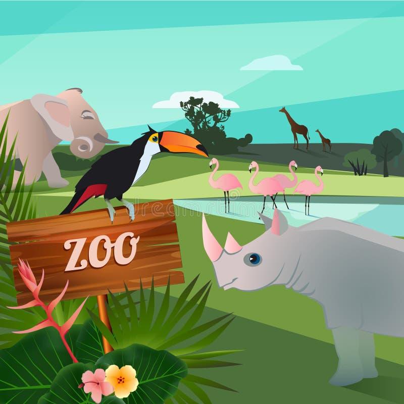 Illustrazione del fumetto degli animali selvatici in zoo Caratteri divertenti di vettore illustrazione vettoriale