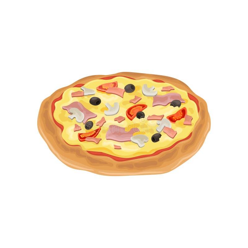 Illustrazione del fumetto degli ingredienti freschi della pizza rotonda Elemento piano variopinto di vettore per il menu della pi illustrazione di stock
