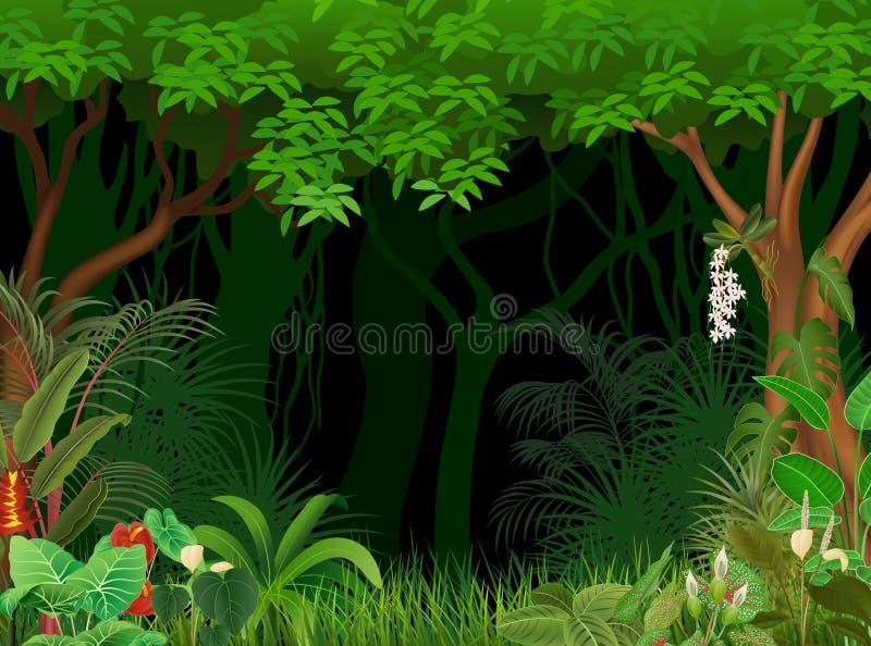 Illustrazione del fumetto del fondo della foresta royalty illustrazione gratis