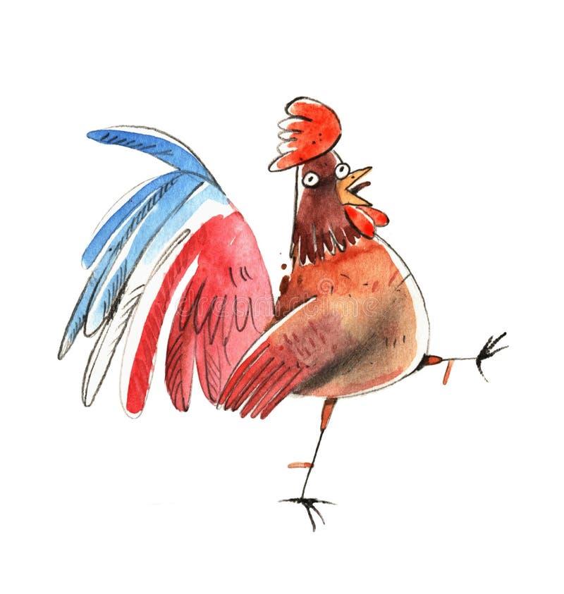 Illustrazione del fumetto del gallo dell'acquerello illustrazione vettoriale