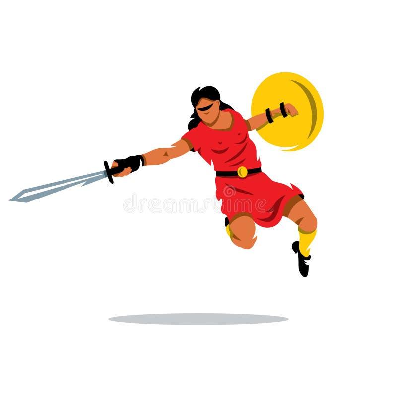 Illustrazione del fumetto del guerriero della donna di vettore illustrazione di stock