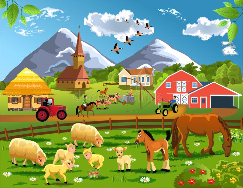 Illustrazione del fumetto della campagna con il villaggio, gli animali da allevamento ed il granaio in un paesaggio rurale royalty illustrazione gratis