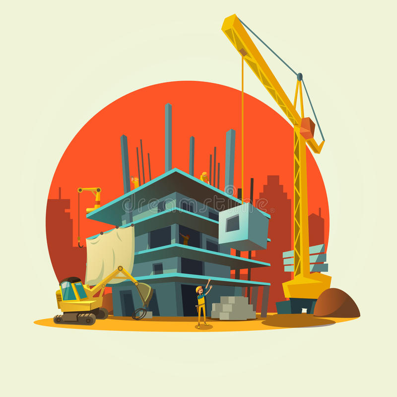 Illustrazione del fumetto della costruzione illustrazione for Concetto casa com