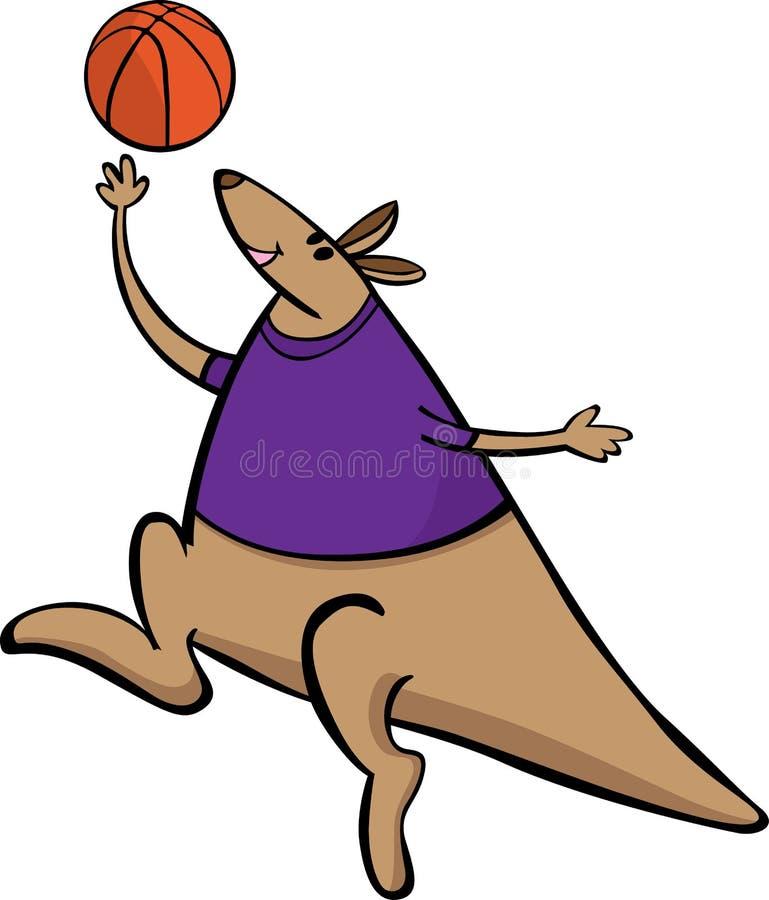 Illustrazione del fumetto della mascotte di sport di pallacanestro del canguro di vettore Adatto a logo ed a manifesti royalty illustrazione gratis