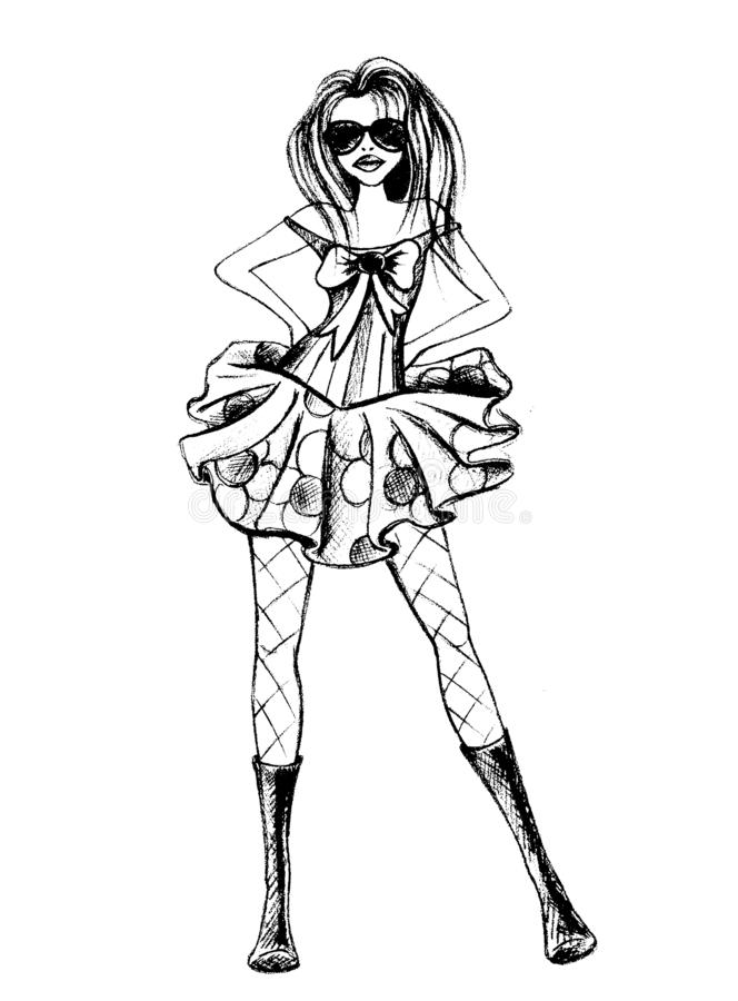Illustrazione del fumetto della ragazza, grafico della maglietta illustrazione di stock