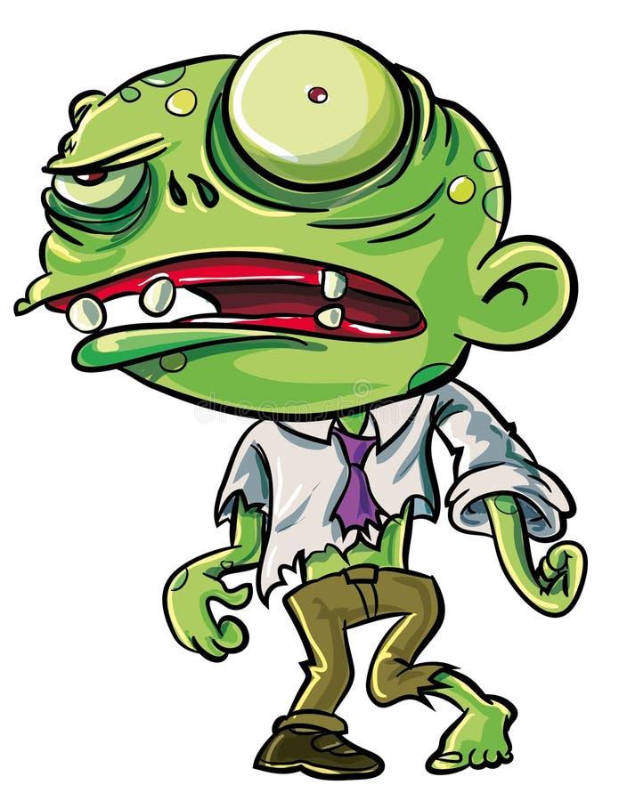 Illustrazione del fumetto dello zombie verde sveglio illustrazione vettoriale