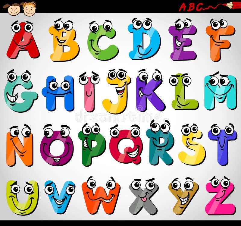 Illustrazione del fumetto di alfabeto delle lettere maiuscole illustrazione vettoriale