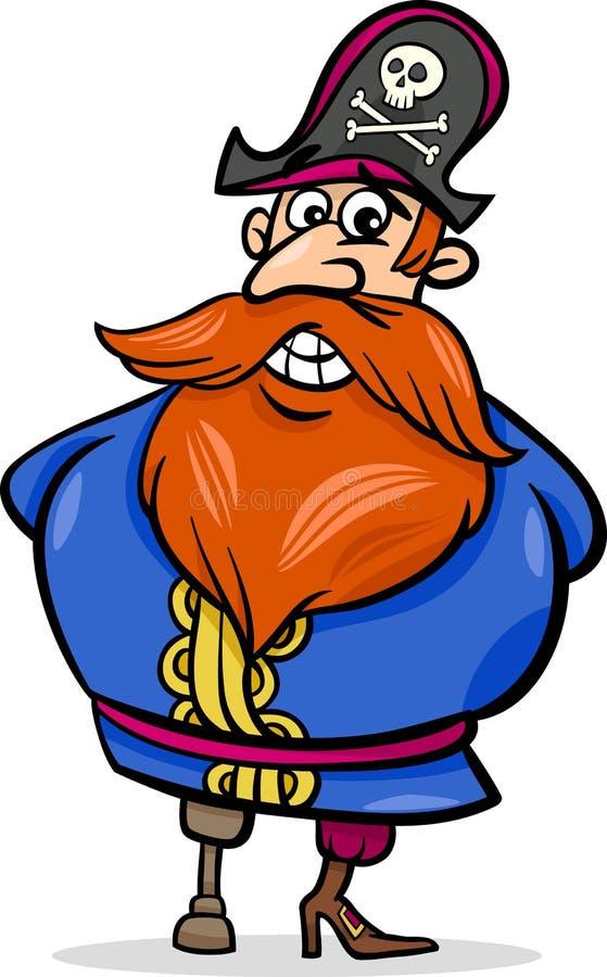 Illustrazione del fumetto di capitano del pirata illustrazione di stock