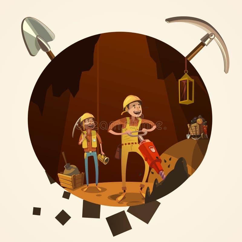 Illustrazione del fumetto di estrazione mineraria illustrazione vettoriale