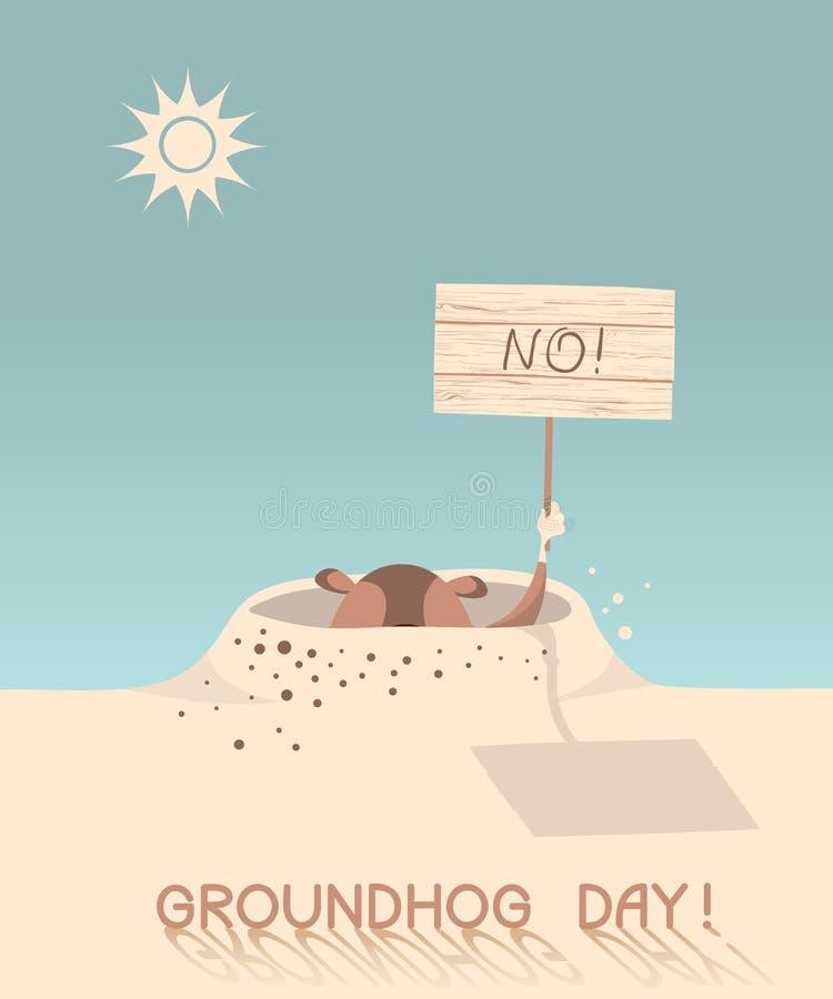 Illustrazione del fumetto di giorno della marmotta illustrazione vettoriale