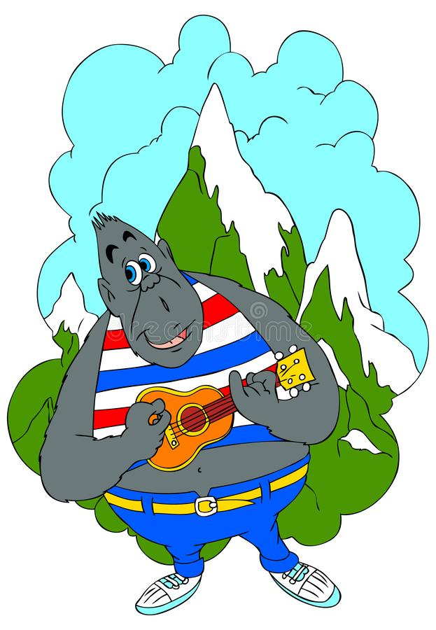 Illustrazione del fumetto di grande gorilla grigia che si siede su un panchetto illustrazione di stock