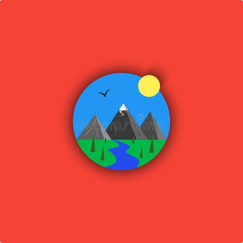 Illustrazione del fumetto di logo del paesaggio, emblema all'aperto minimalistic, cielo, fiume, montagna, sole, abete rosso, ucce royalty illustrazione gratis