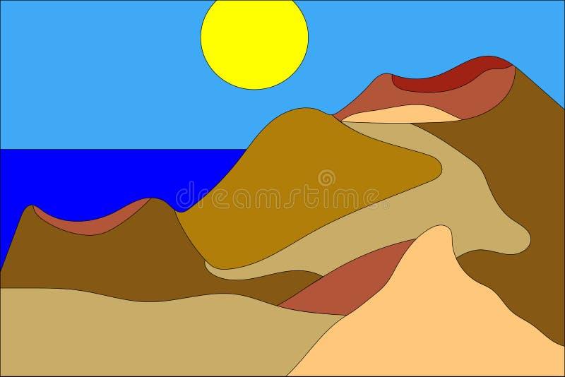 Illustrazione del fumetto di piccola isola vulcanica nell'oceano illustrazione di stock