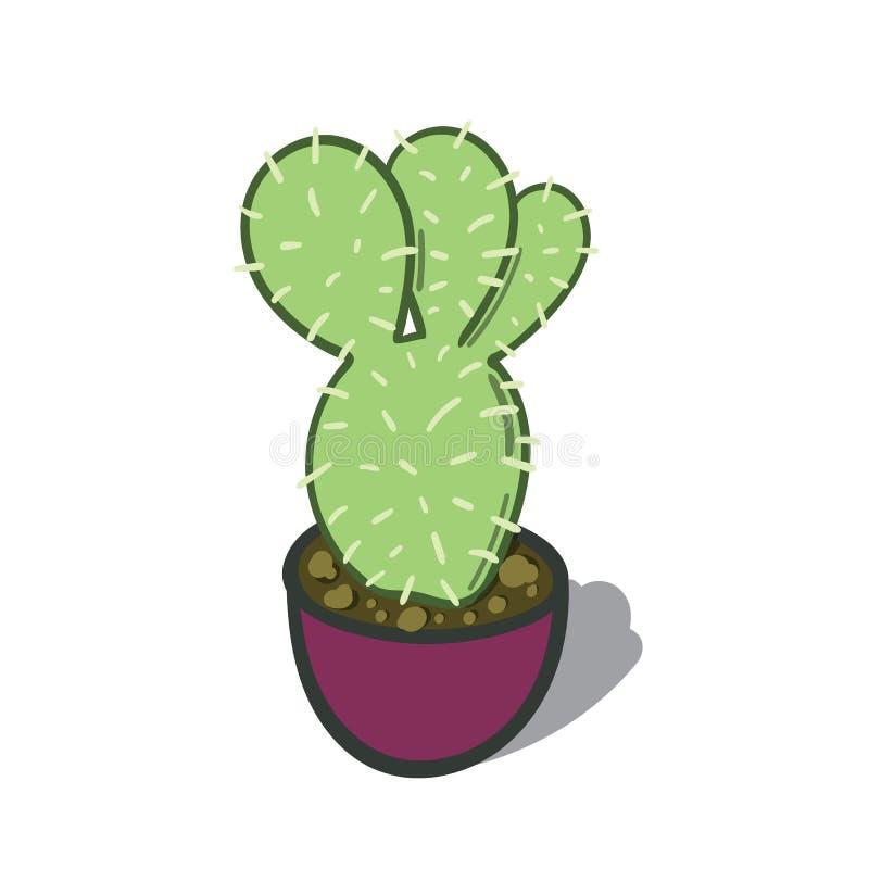 Illustrazione del fumetto di un albero del cactus immagini stock