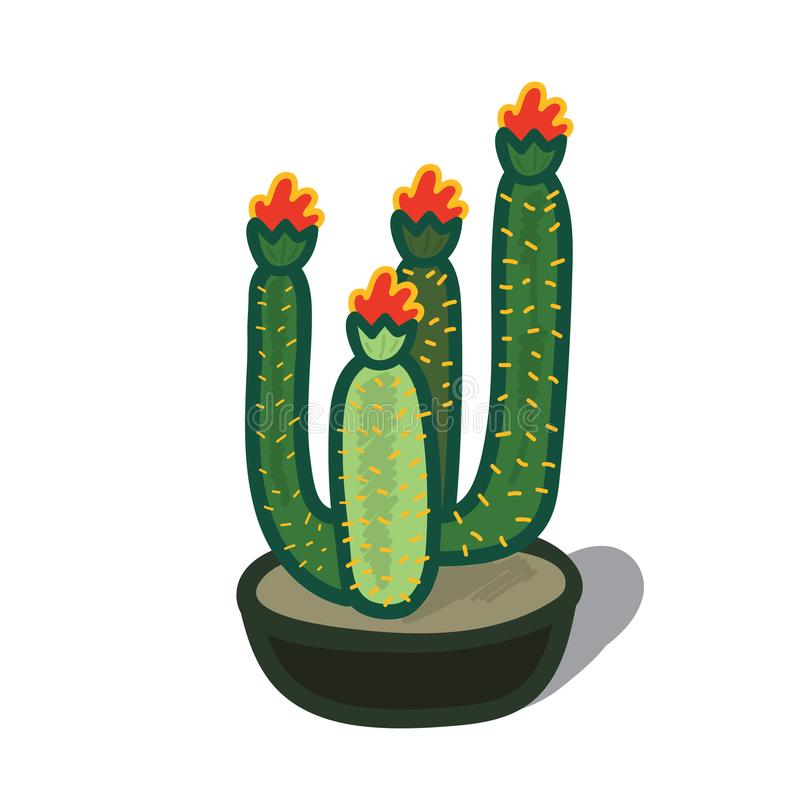 Illustrazione del fumetto di un albero del cactus fotografia stock libera da diritti