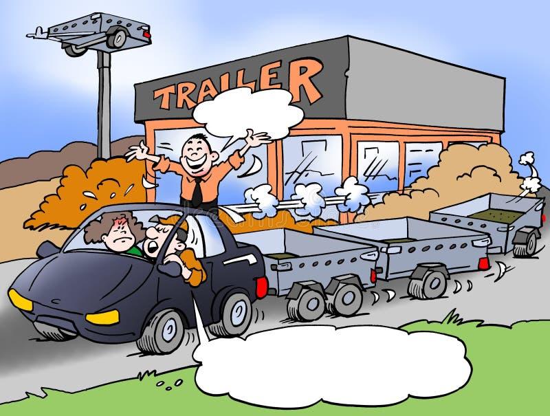 Illustrazione del fumetto di un padre della famiglia che assolutamente ama i rimorchi illustrazione di stock