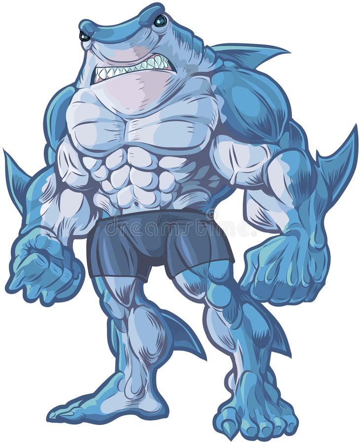 Illustrazione del fumetto di vettore dell'uomo dello squalo royalty illustrazione gratis