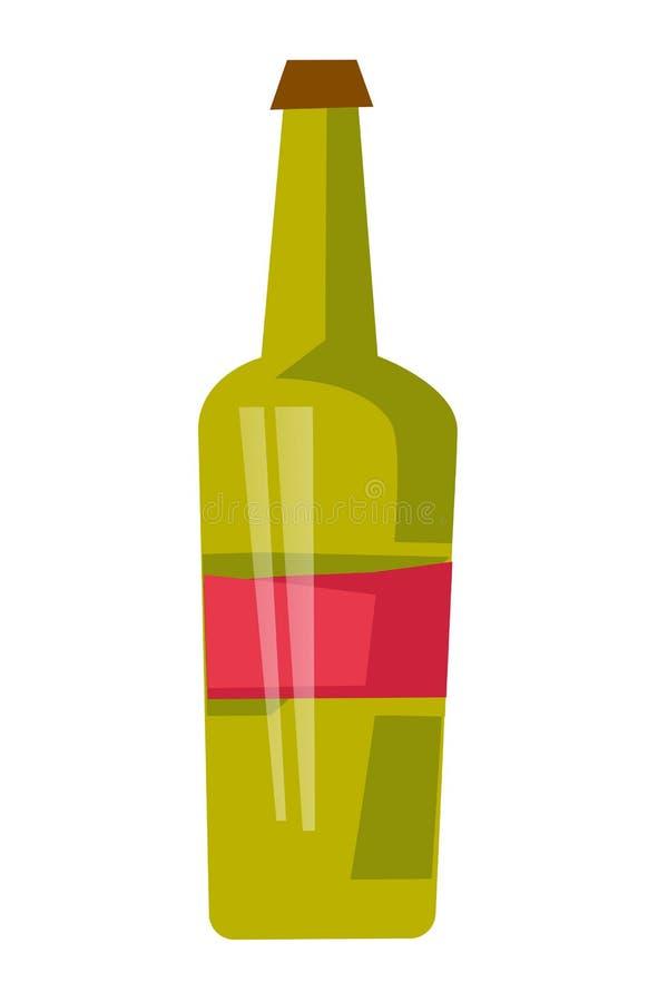 Illustrazione del fumetto di vettore della bottiglia del vino rosso royalty illustrazione gratis
