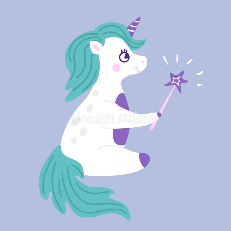 Illustrazione del fumetto di vettore dello stregone dell'unicorno fotografie stock