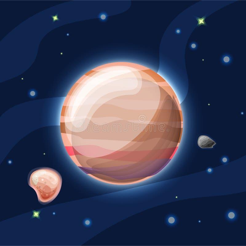 Illustrazione del fumetto di vettore di Giove Pianeta arancione-chiaro Giove del sistema solare nello spazio blu profondo scuro,  illustrazione vettoriale