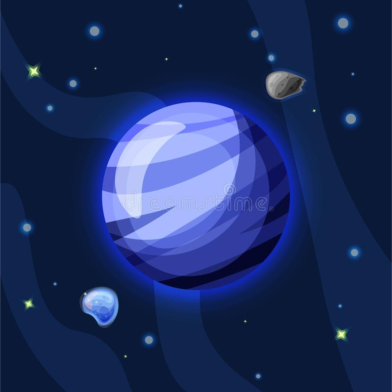Illustrazione del fumetto di vettore di Neptun Pianeta blu di Neptun del sistema solare nello spazio blu profondo scuro, isolato  royalty illustrazione gratis