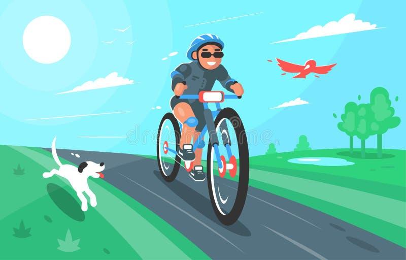 Illustrazione del fumetto di vettore di un ciclista con il cane e l'uccello Progettazione di carattere Natura, estate, paesaggio illustrazione di stock
