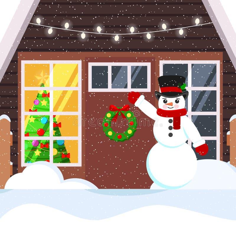 Illustrazione del fumetto di vettore di un'entrata nevosa della casa e di un pupazzo di neve accogliente illustrazione vettoriale