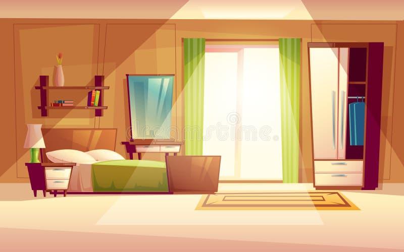 Illustrazione del fumetto di vettore di un interno della camera da letto royalty illustrazione gratis