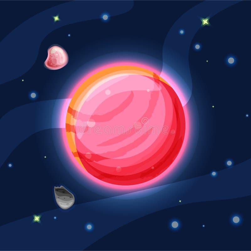 Illustrazione del fumetto di vettore di Venere Venere rosso e rosa del pianeta del sistema solare nello spazio blu profondo scuro royalty illustrazione gratis