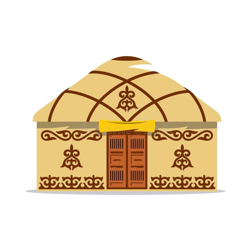 Illustrazione del fumetto di Yurt di vettore Camera dei nomadi asiatici illustrazione di stock