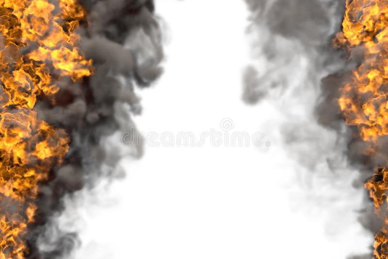 Illustrazione del fuoco 3D del telaio ardente del fuoco isolato su bianco con fumo scuro - l'alto ed il basso sono vuoti, linee d royalty illustrazione gratis