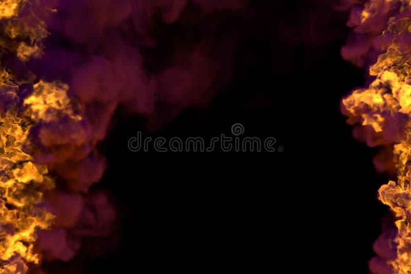 Illustrazione del fuoco 3D del telaio bruciante mistico del camino isolato su fondo nero con fumo scuro - l'alto ed il basso sono illustrazione vettoriale