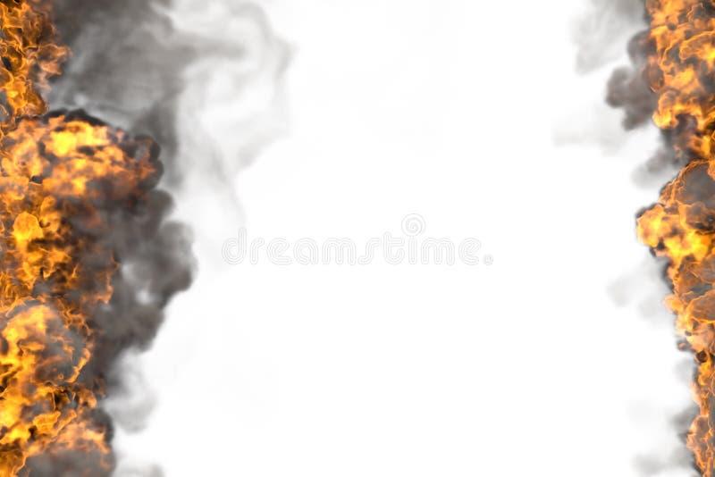 Illustrazione del fuoco 3D del telaio di fusione di esplosione isolato su bianco con fumo scuro - l'alto ed il basso sono vuoti,  illustrazione vettoriale